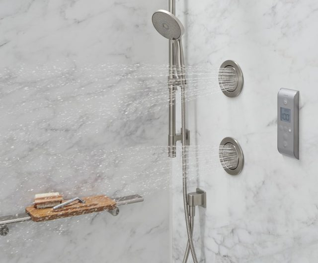kohler luxstone body sprays - two front spray heads for powerful spray - comes in chrome and brushed nickel!