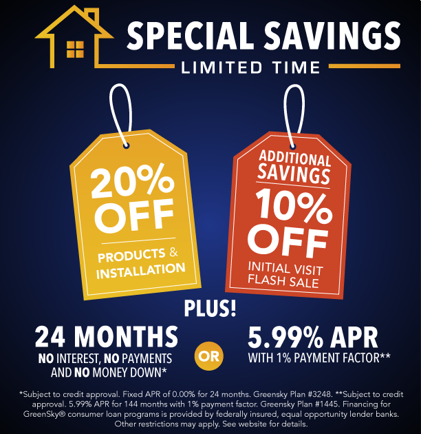 offer 1: 20% Off products and install and 10% extra savings plus choose your finance option!