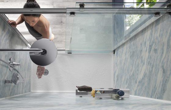 woman turning on her kohler shower - NEW bluette walls
