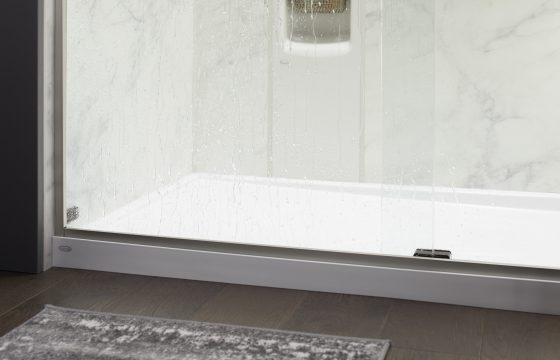 another close up shot of the luxstone calacutta shower locker and shower base