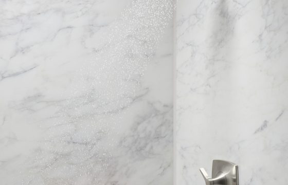 angle shot of the modern faucet designs from KOHLER Luxstone