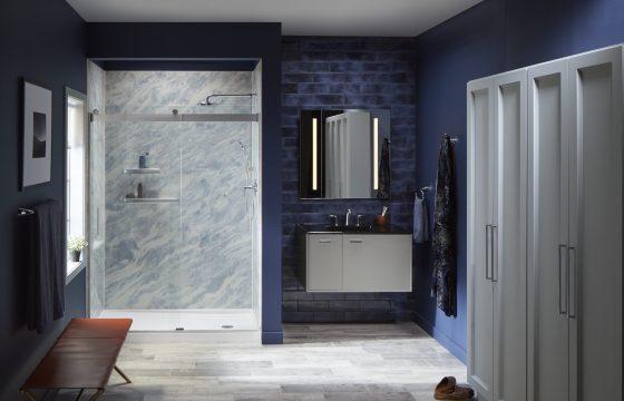 KOHLER bluette shower in a beautiful blue bathroom