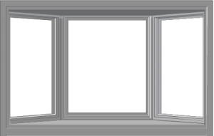 vector image of a bay window - one center picture window, two windows on either side