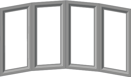 vector image of a bow window, which is comprised of 4 or more windows